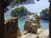 photo, the islet of the parga view from the castle of Parga